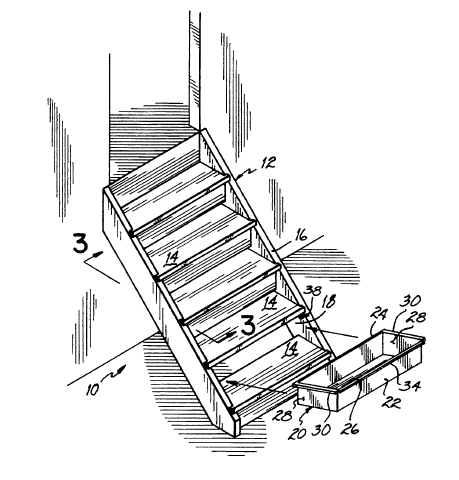 Stair Drawers, drawing, patent,US5352031A